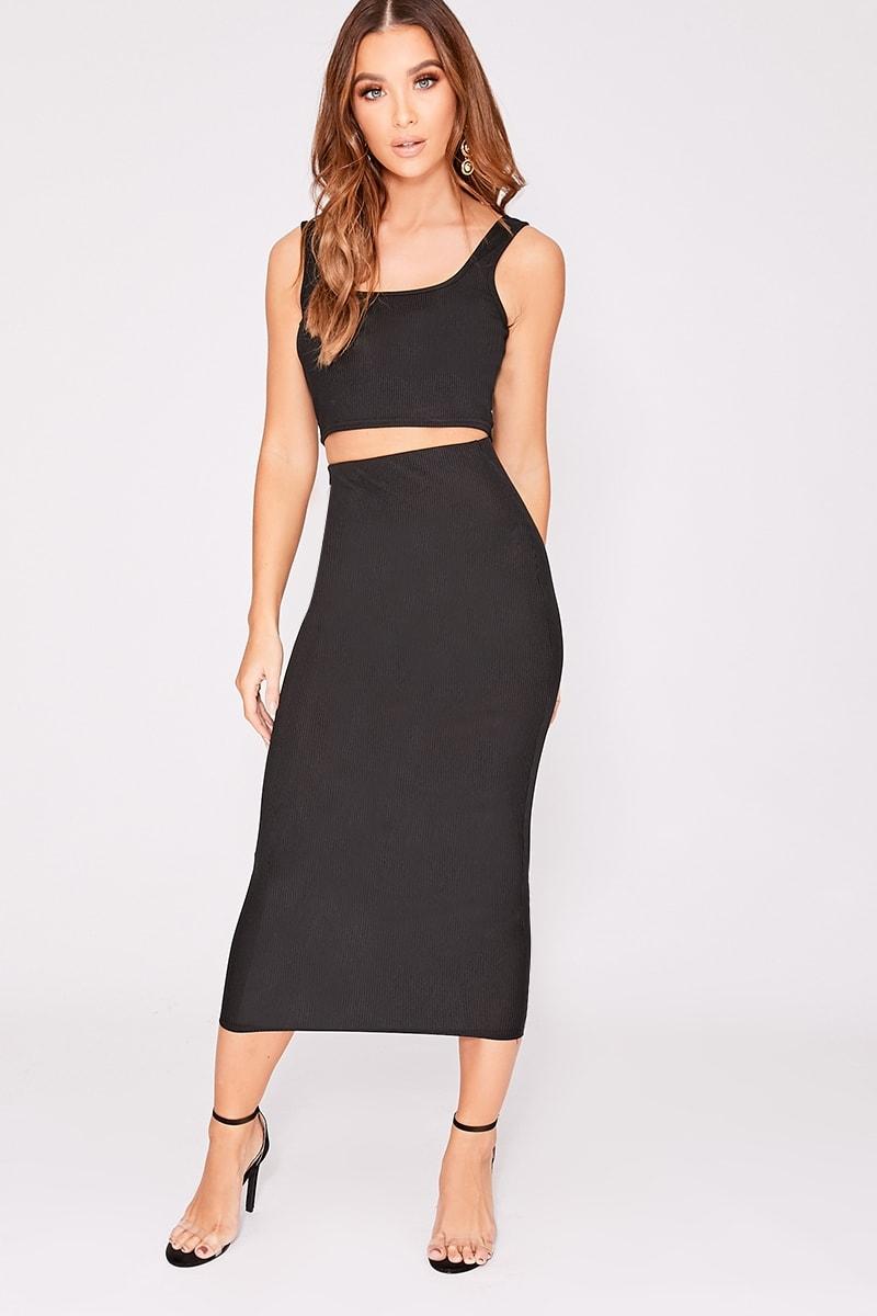 black ribbed midi skirt