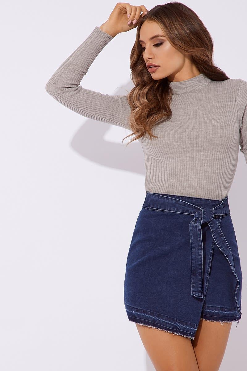 blue wrap denim skirt