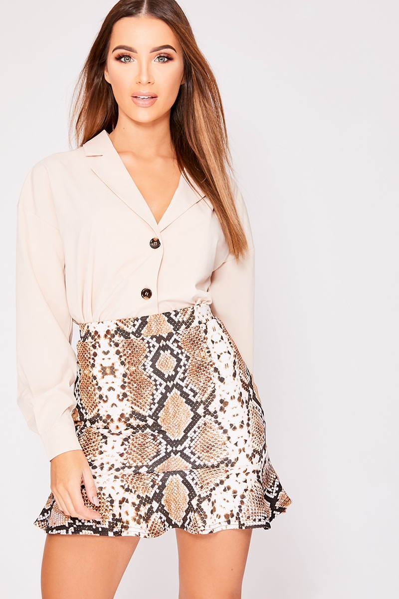 KAELLE BROWN SNAKE PRINT FRILL HEM MINI SKIRT