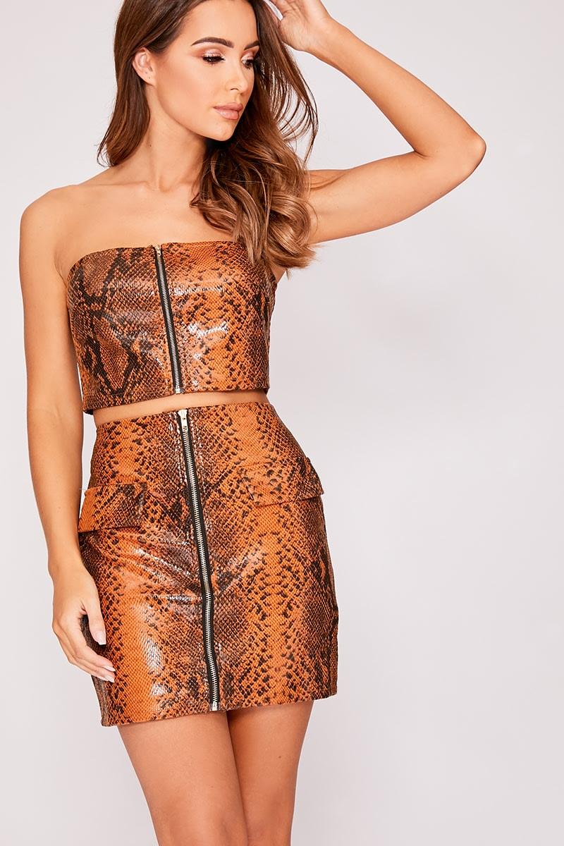 brown pu snake print mini skirt