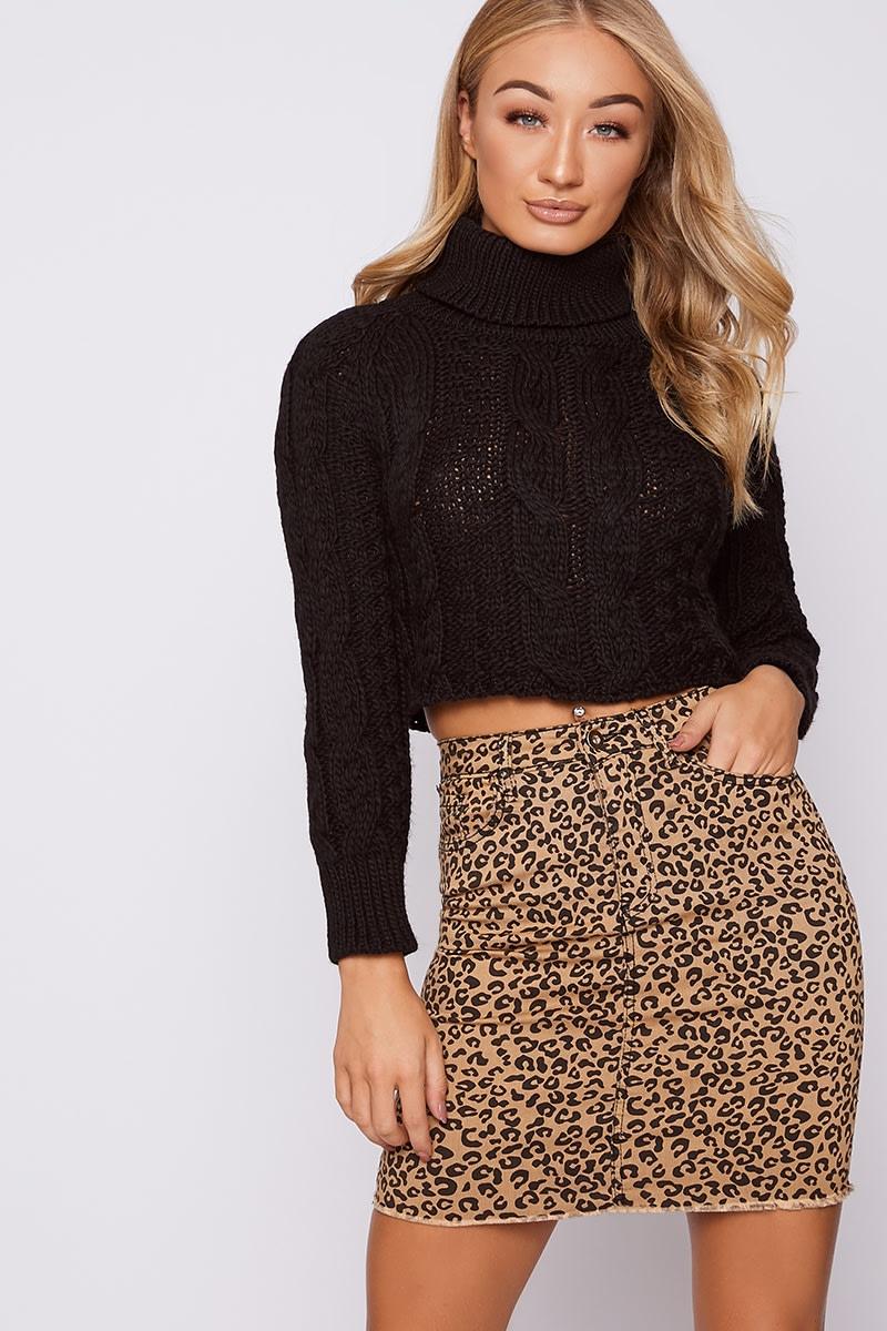 brown leopard print denim mini skirt