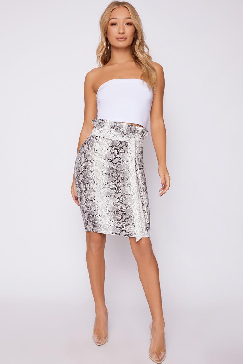grey snake print paperbag waist midi skirt