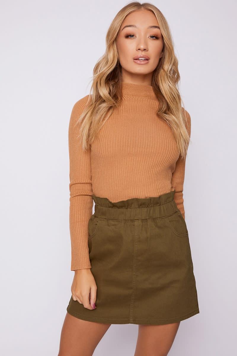 khaki paperbag waist denim mini skirt