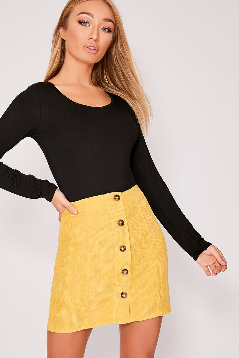 mustard corduroy horn button mini skirt