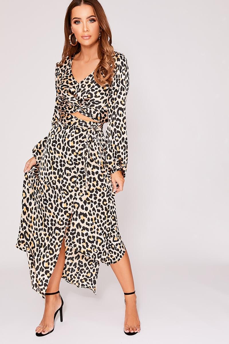 nude leopard print satin split front midi skirt