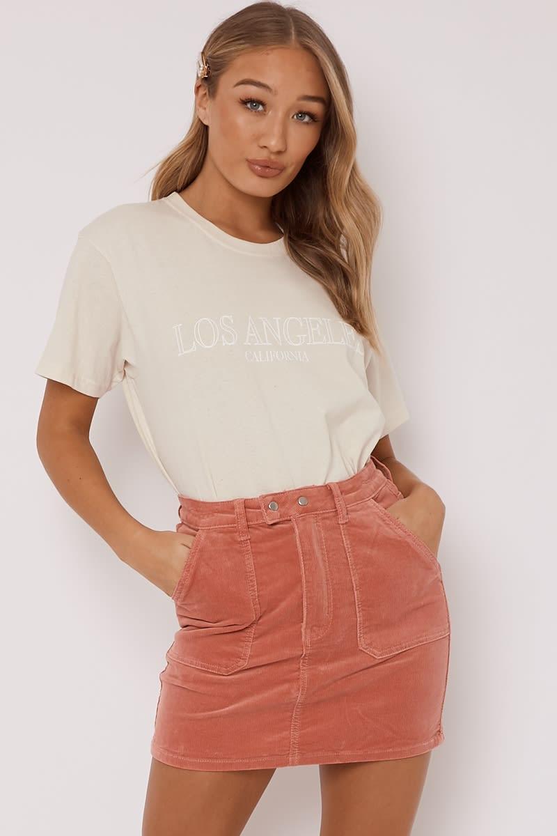 pink cord utility pocket mini skirt
