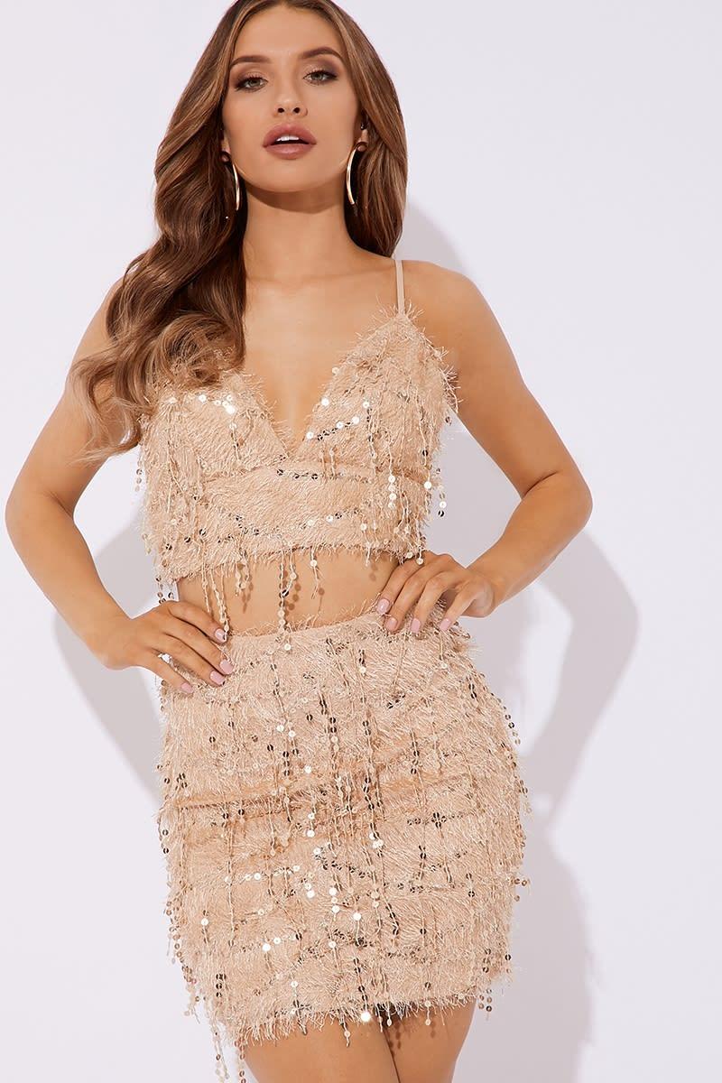 nude fluffy sequin co-ord mini skirt