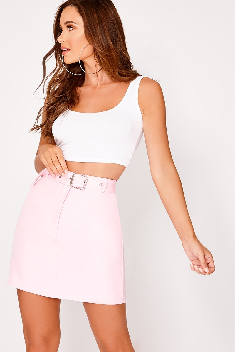 pink buckle woven mini skirt