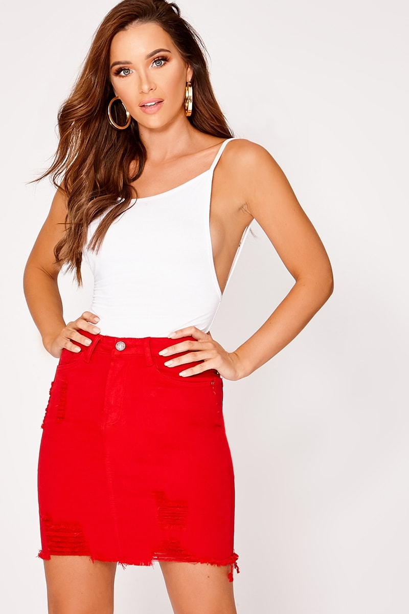 red distressed stretch denim skirt