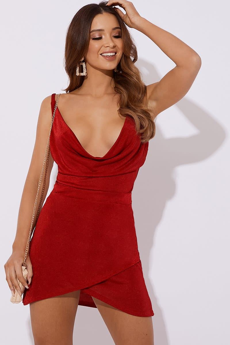 red slinky co-ord wrap skirt