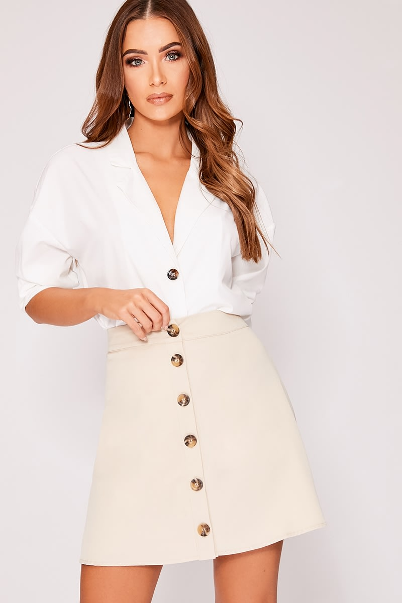 OVEE STONE BUTTON FRONT A LINE MINI SKIRT