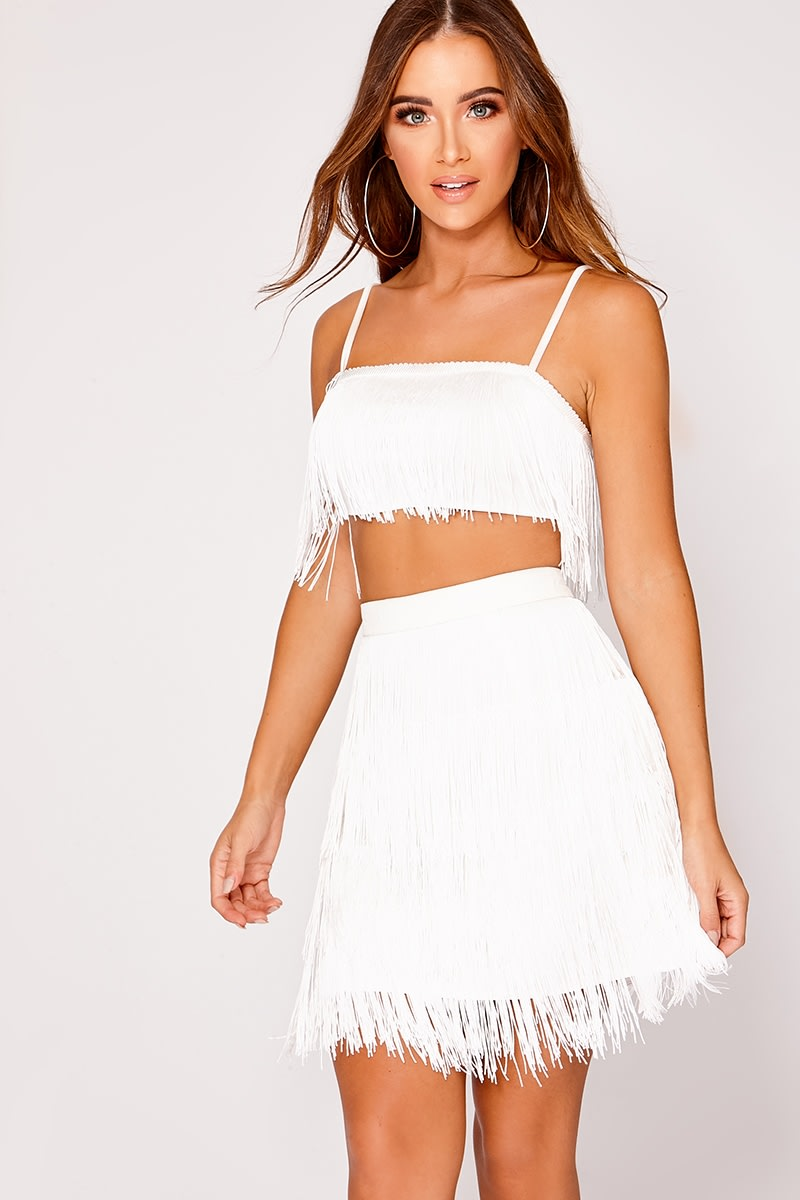 white tassel layer co-ord mini skirt