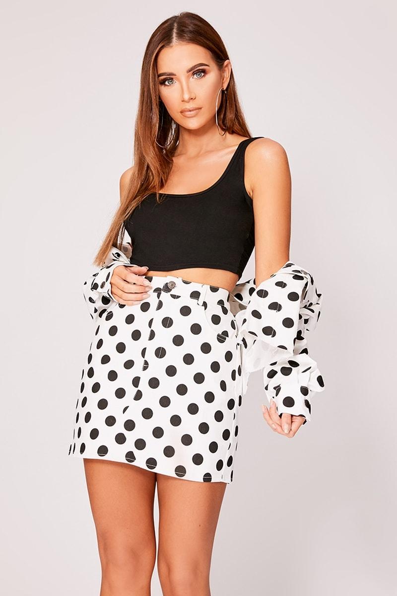white polka dot high waisted denim mini skirt