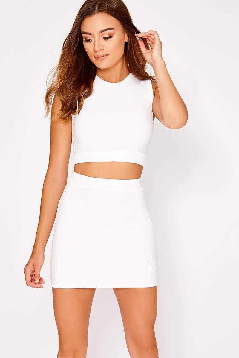 white ribbed mini skirt