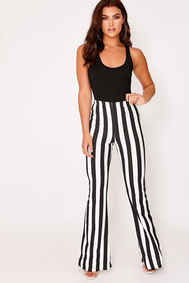 black and white stripe flare leg trousers
