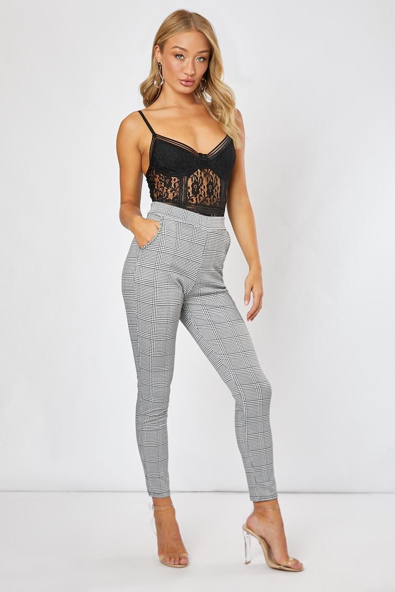 black and white check cigarette trousers
