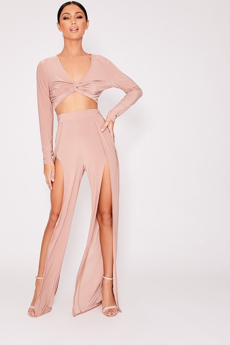 IVI BLUSH SPLIT FRONT SLINKY WIDE LEG TROUSERS