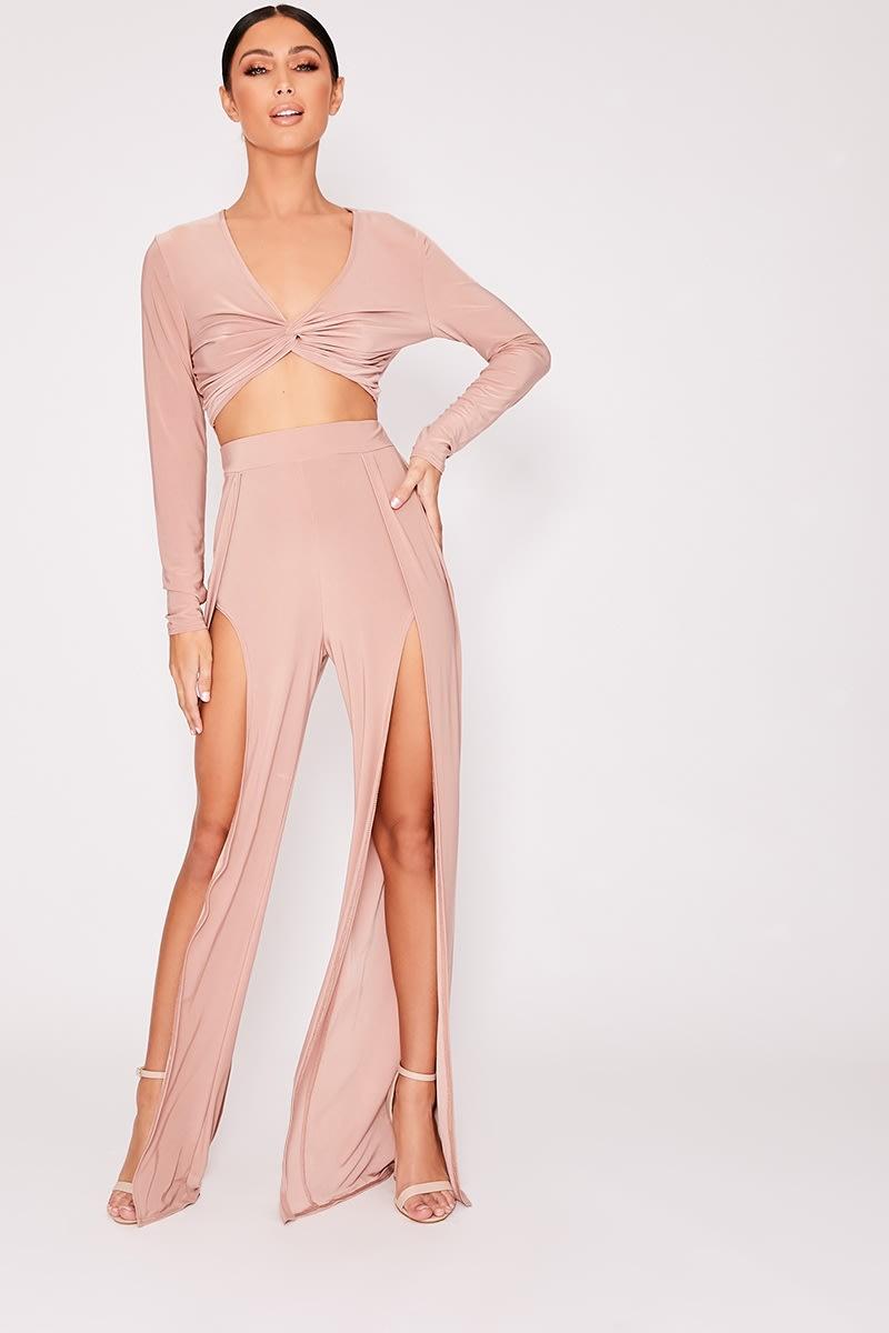 blush split front slinky wide leg co-ord trousers