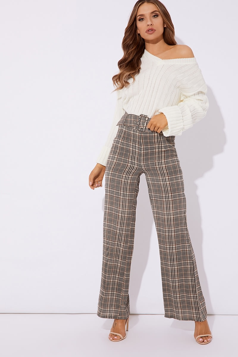 brown check trousers