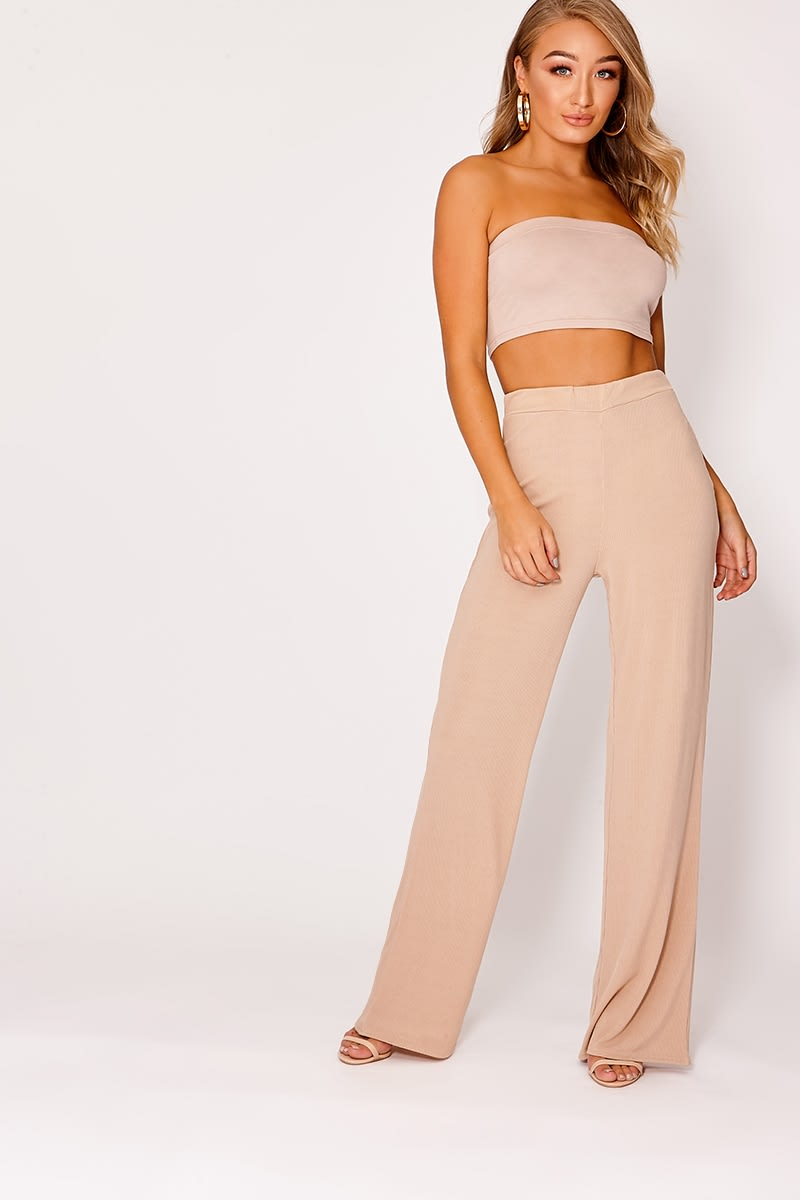 camel ribbed wide leg trousers