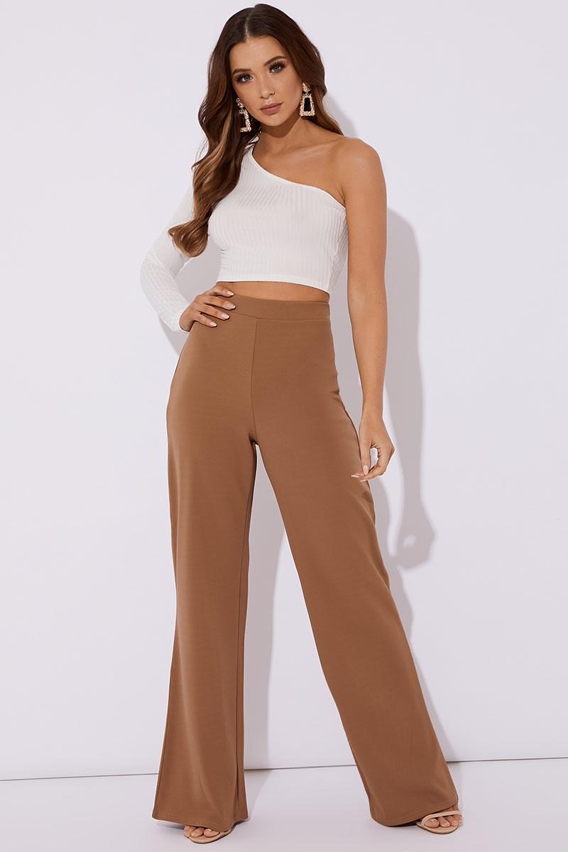 camel wide leg trousers