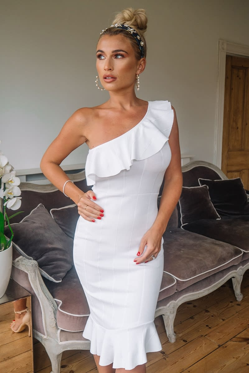 BILLIE FAIERS WHITE BANDAGE ONE SHOULDER FRILL MIDI DRESS