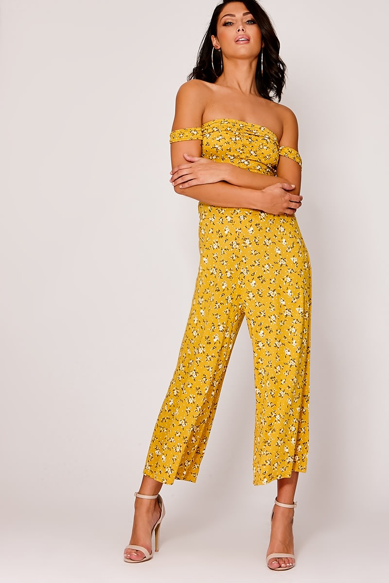 LUNIE MUSTARD DITSY FLORAL PRINT CULOTTES