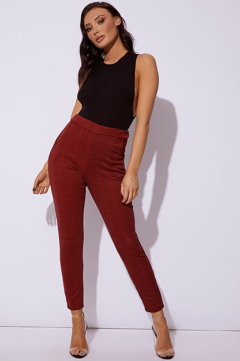 red checked cigarette trousers