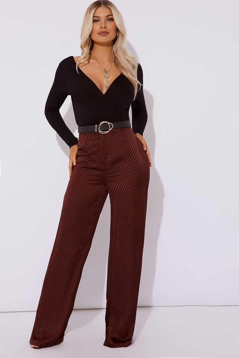 stripe satin wide leg trouser