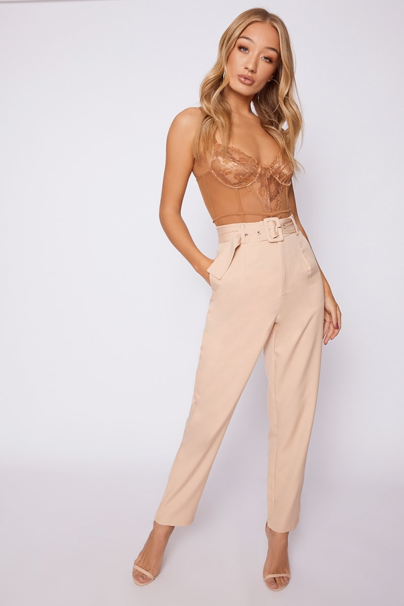 stone high waisted tailored trousers