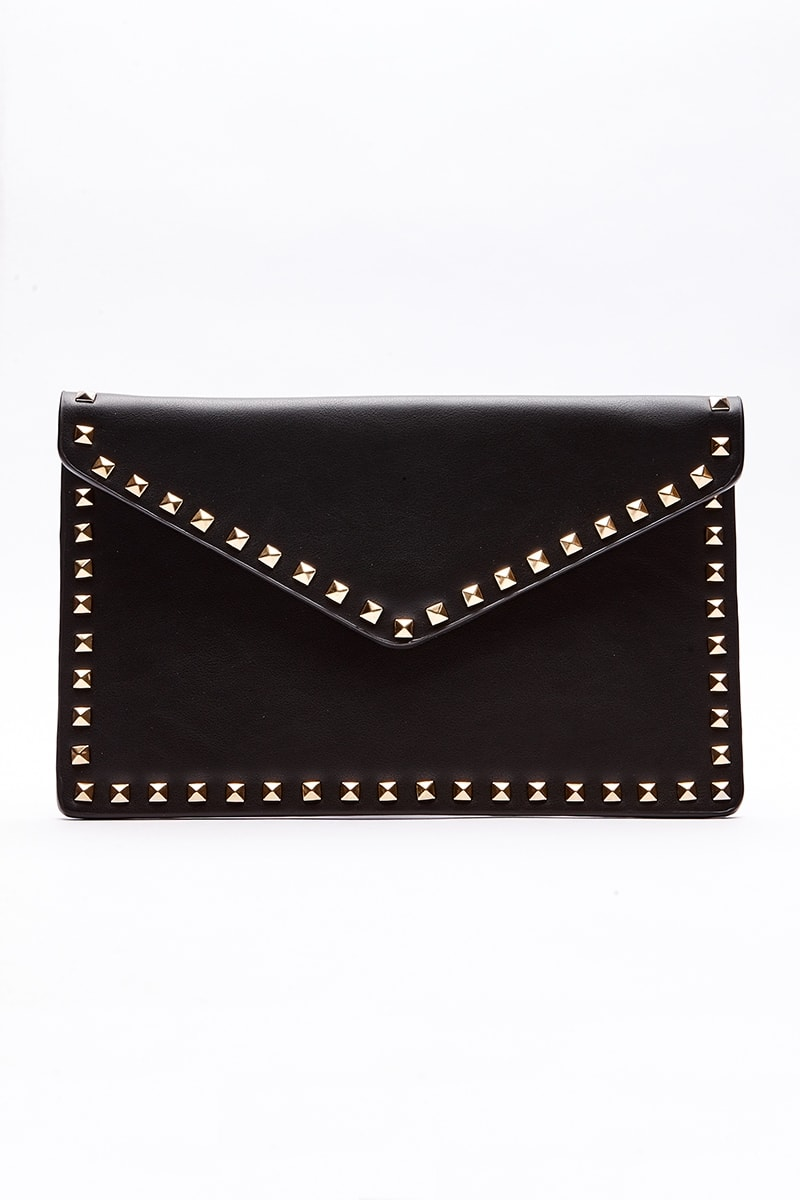 BLACK STUDDED ENVELOPE CLUTCH BAG