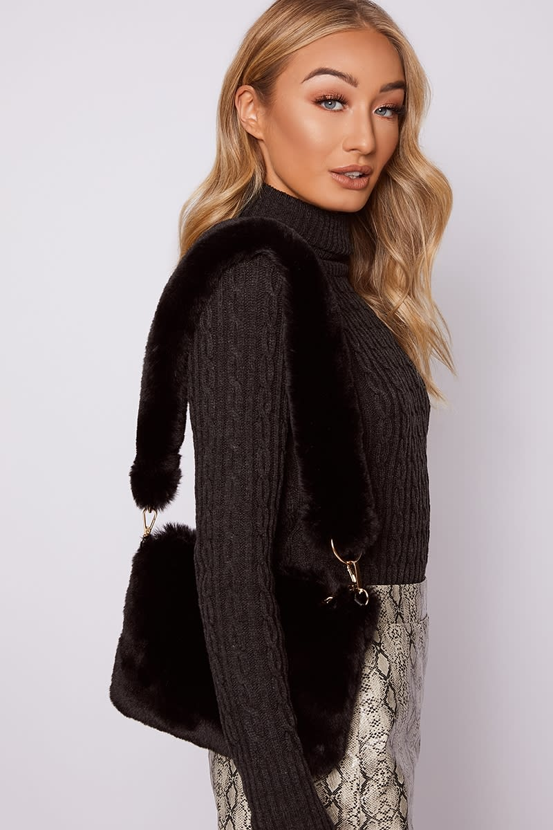 BLACK FAUX FUR OVER THE SHOULDER BAG