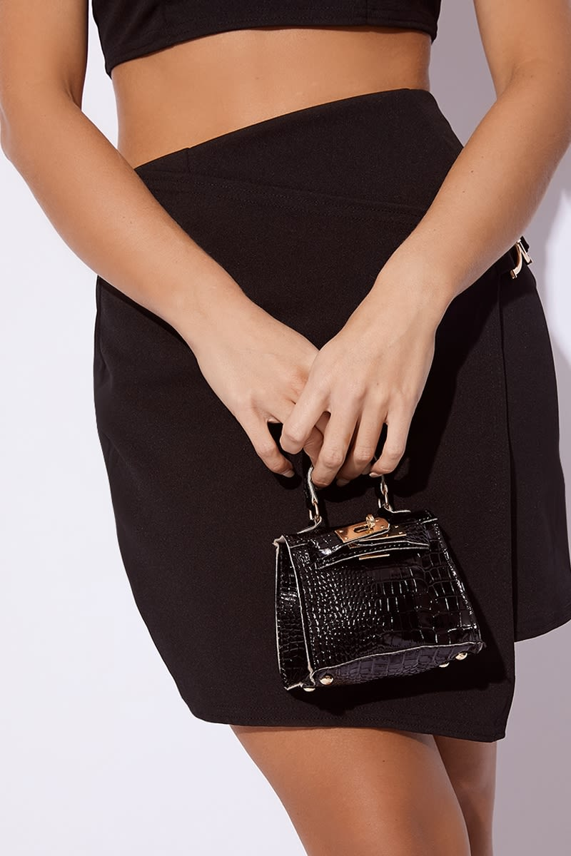 BLACK FAUX CROC MINI BAG