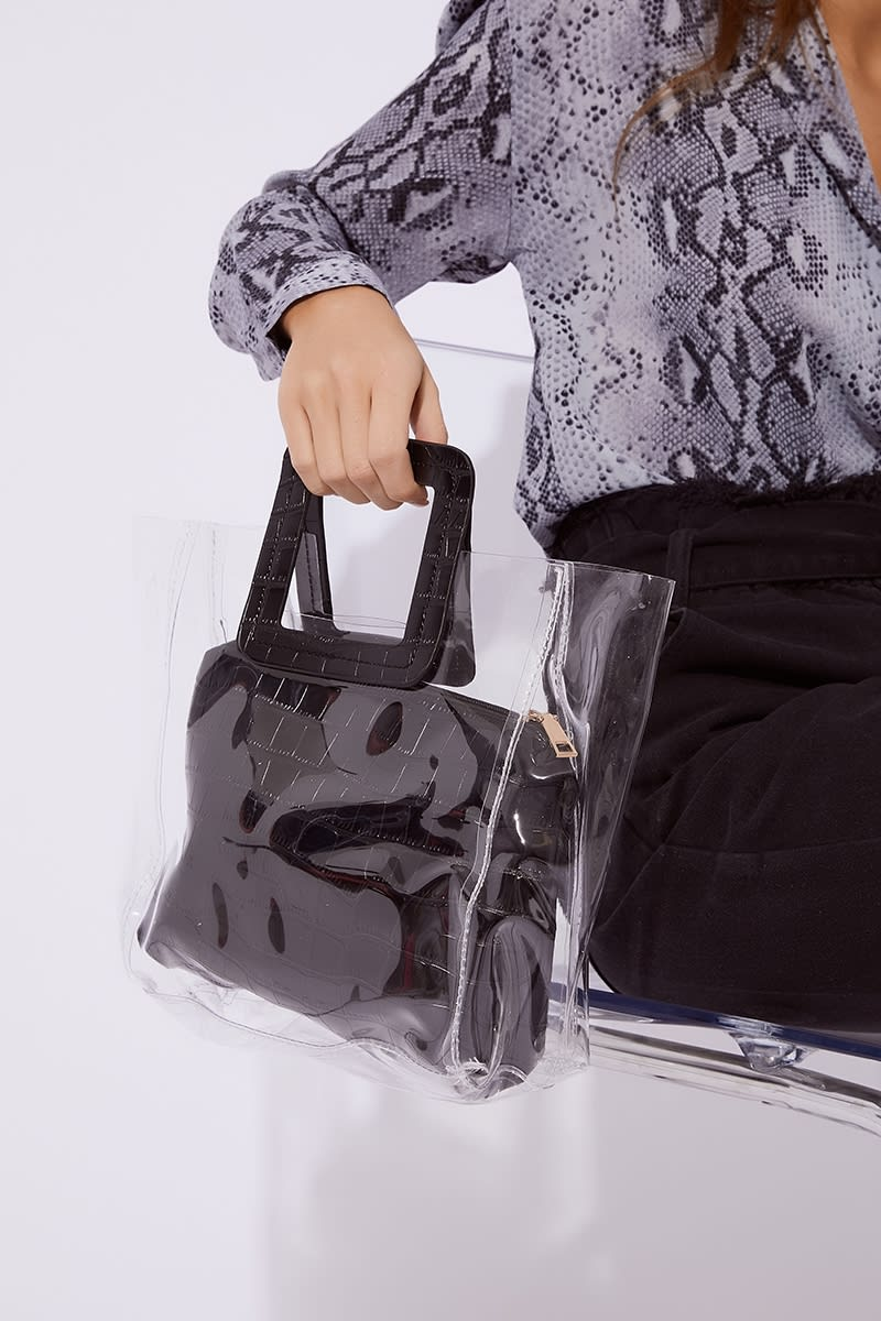BLACK CROC PRINT CLEAR BAG
