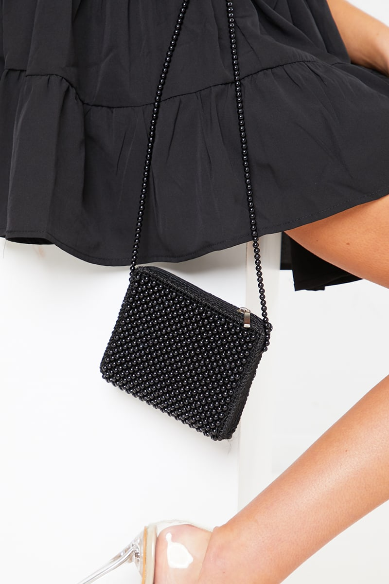 BLACK BEADED CROSS BODY BAG