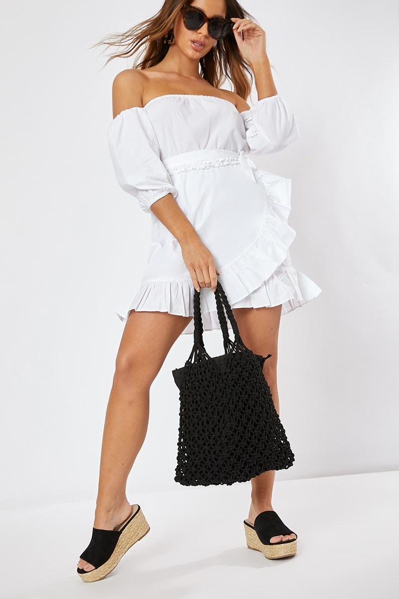 BLACK WOVEN NET BAG