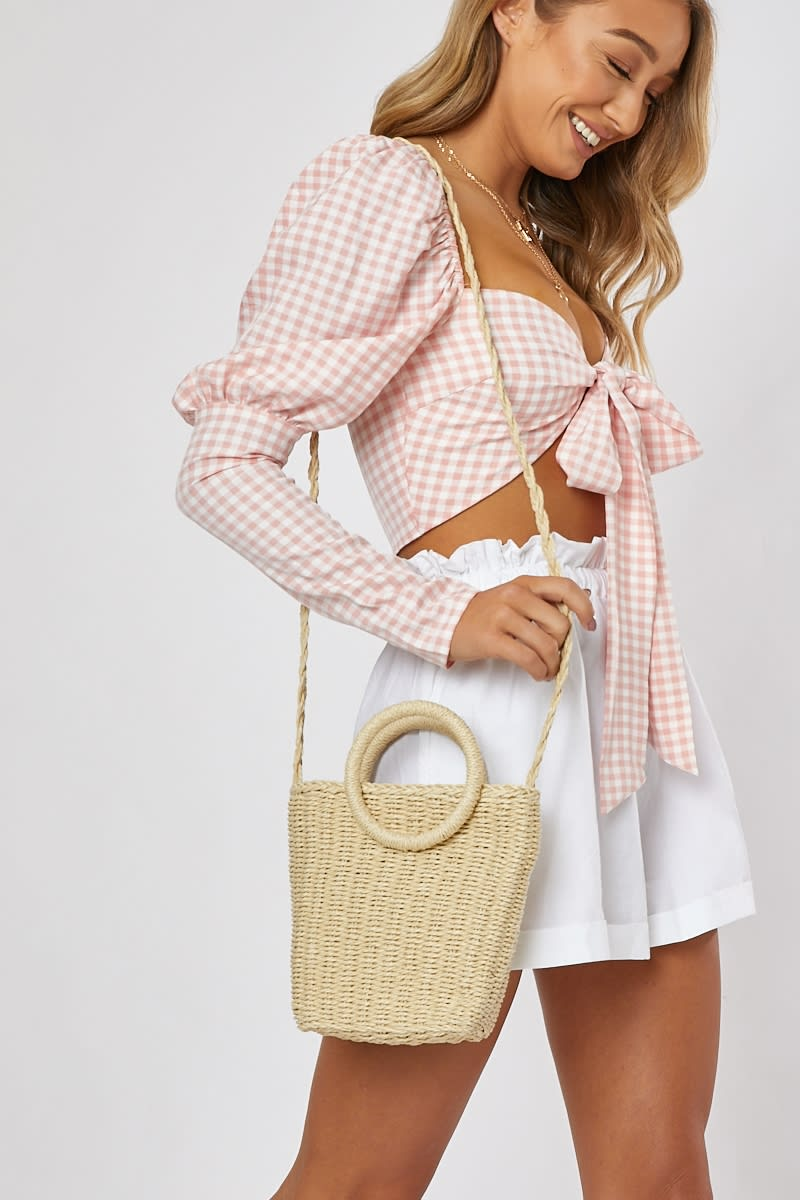 CREAM WICKER ROUND HANDLE WITH STRAP BAG