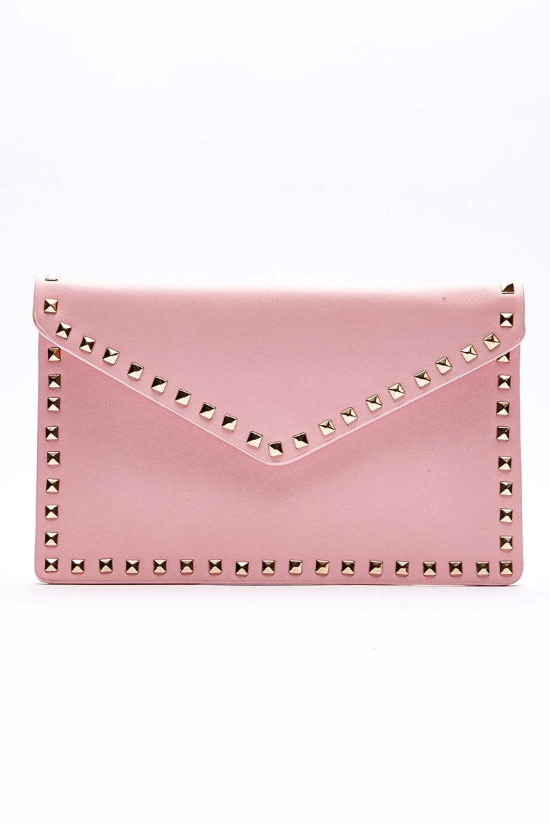 PINK STUDDED ENVELOPE CLUTCH BAG