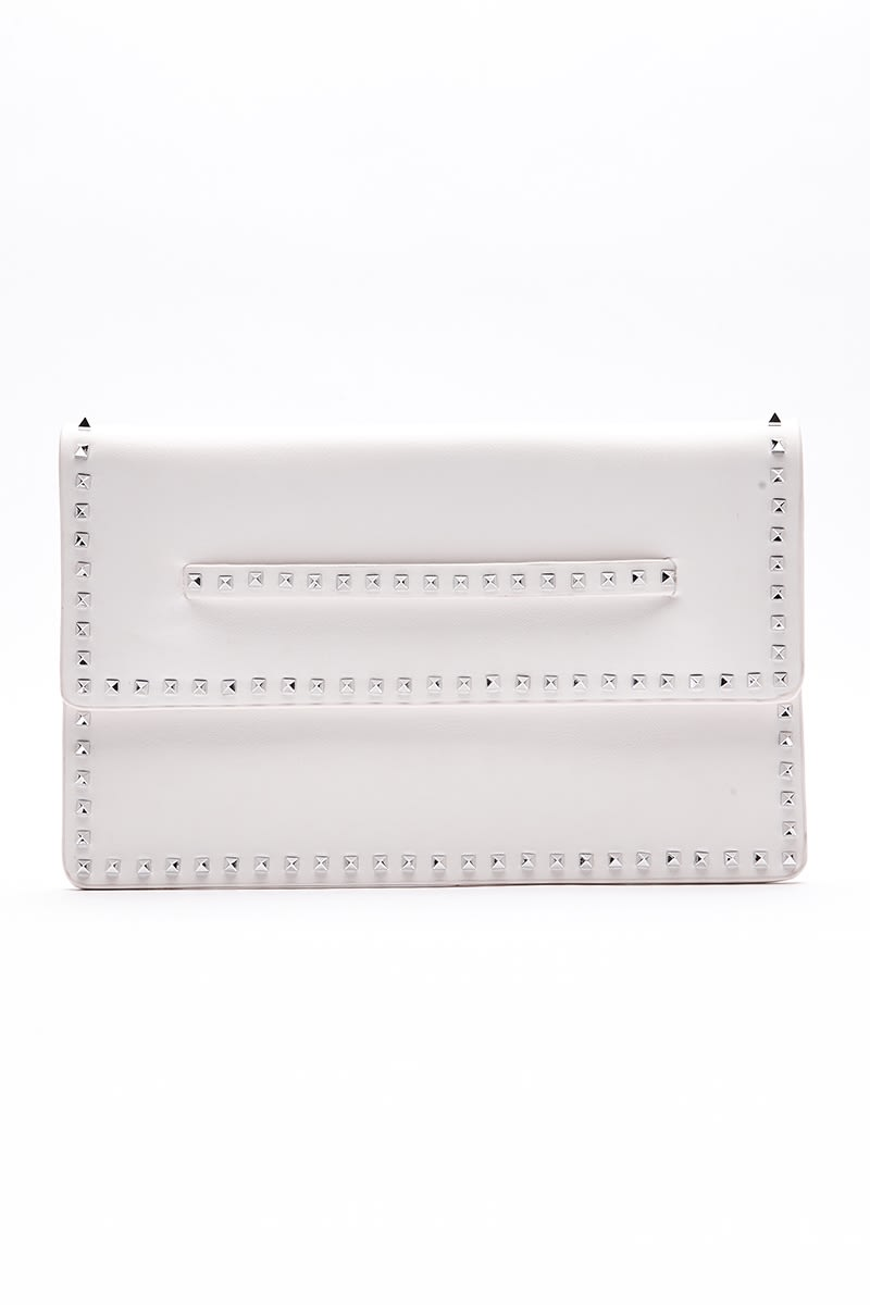 WHITE FAUX LEATHER STUD CLUTCH BAG