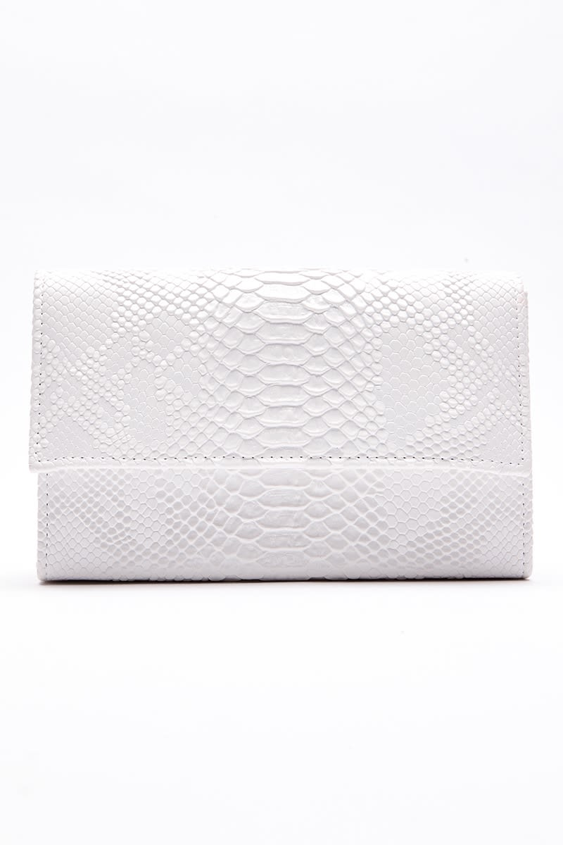 WHITE FAUX CROC CLUTCH BAG