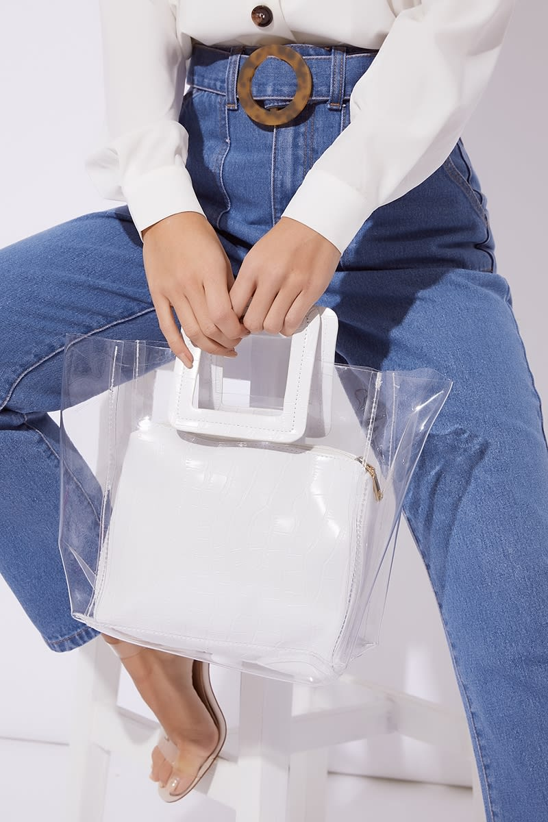 WHITE CROC PRINT CLEAR BAG