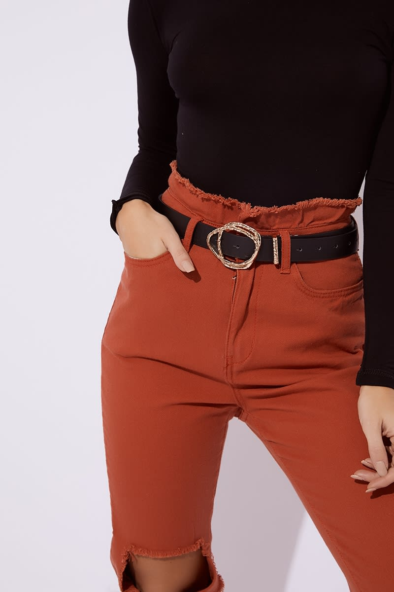 BLACK ABSTRACT BUCKLE BELT