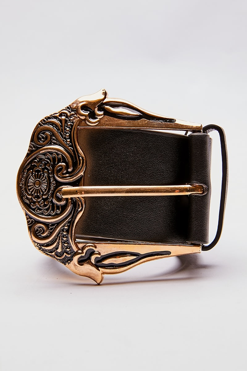GOLD SINGLE BUCKLE WESTERN BELT
