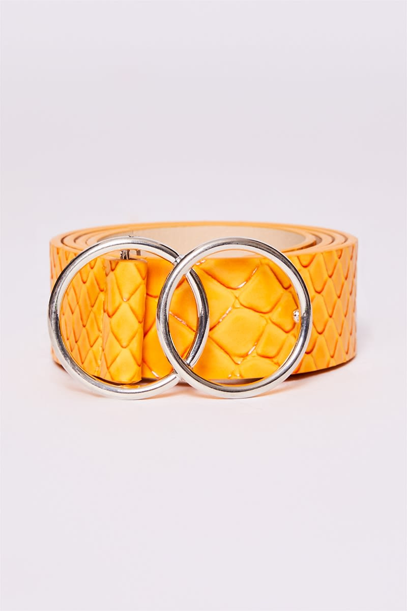 MUSTARD FAUX CROC DOUBLE CIRCLE BELT