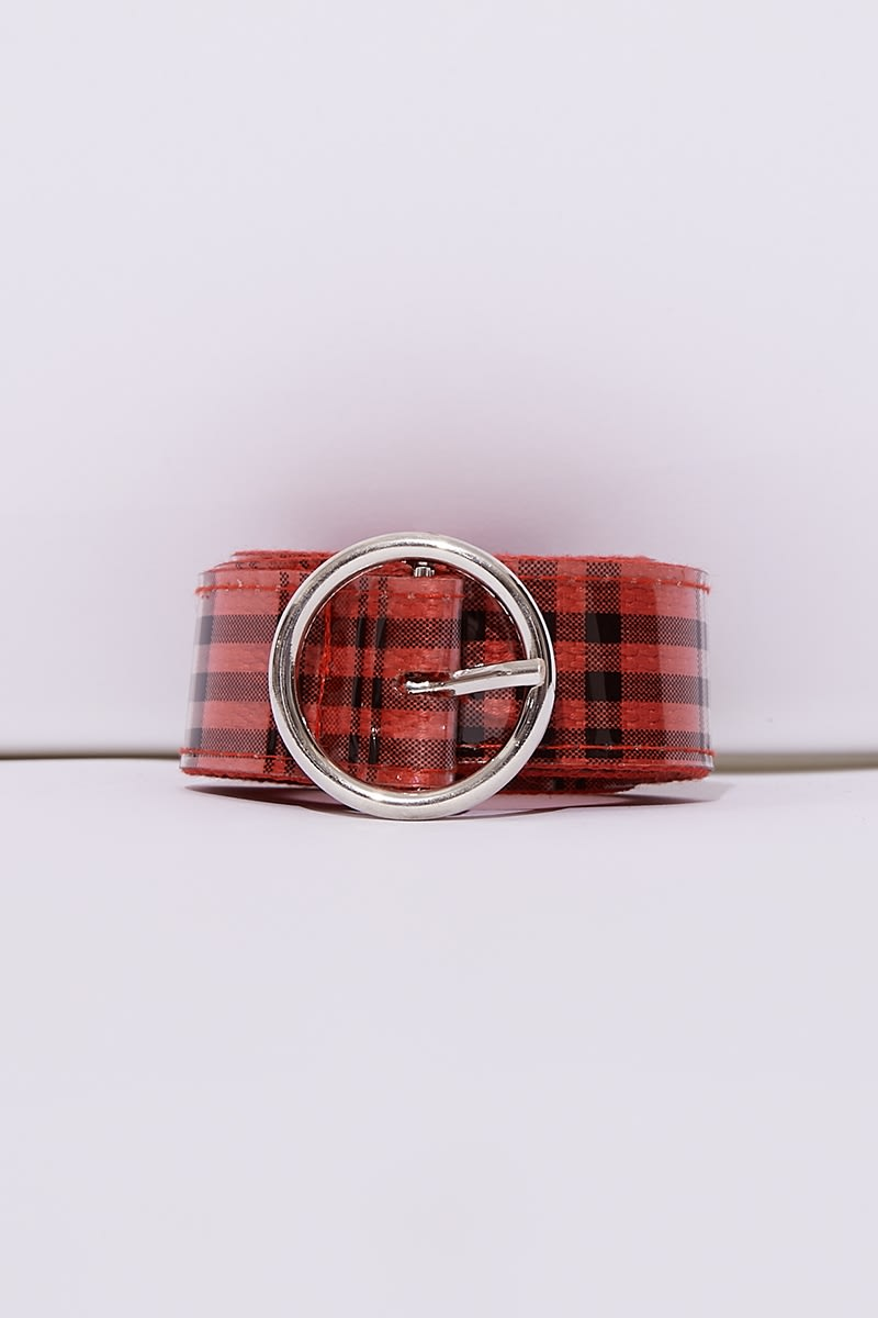 RED CHECK CIRCLE BUCKLE BELT