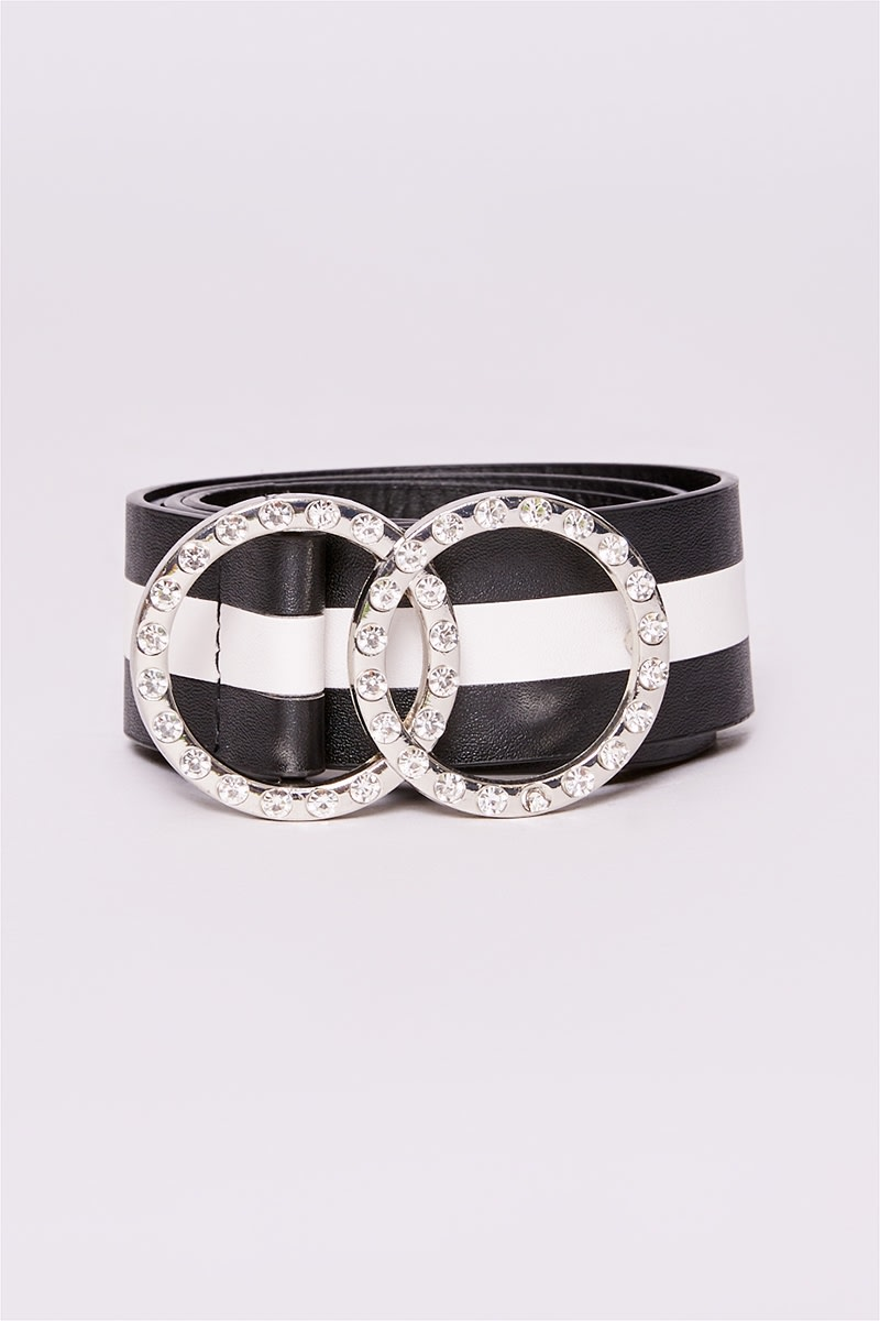 BLACK STRIPE DIAMANTE BUCKLE BELT