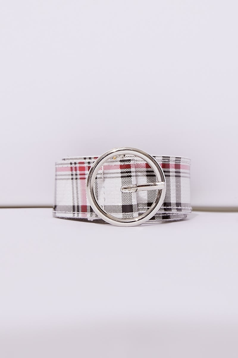 WHITE CHECK CIRCLE BUCKLE BELT