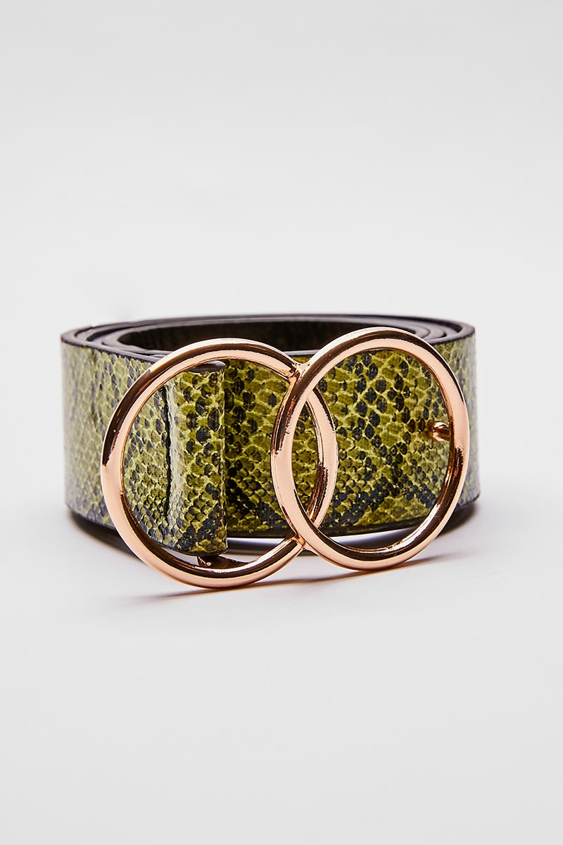 YELLOW SNAKE PRINT DOUBLE RING BUCKLE BELT