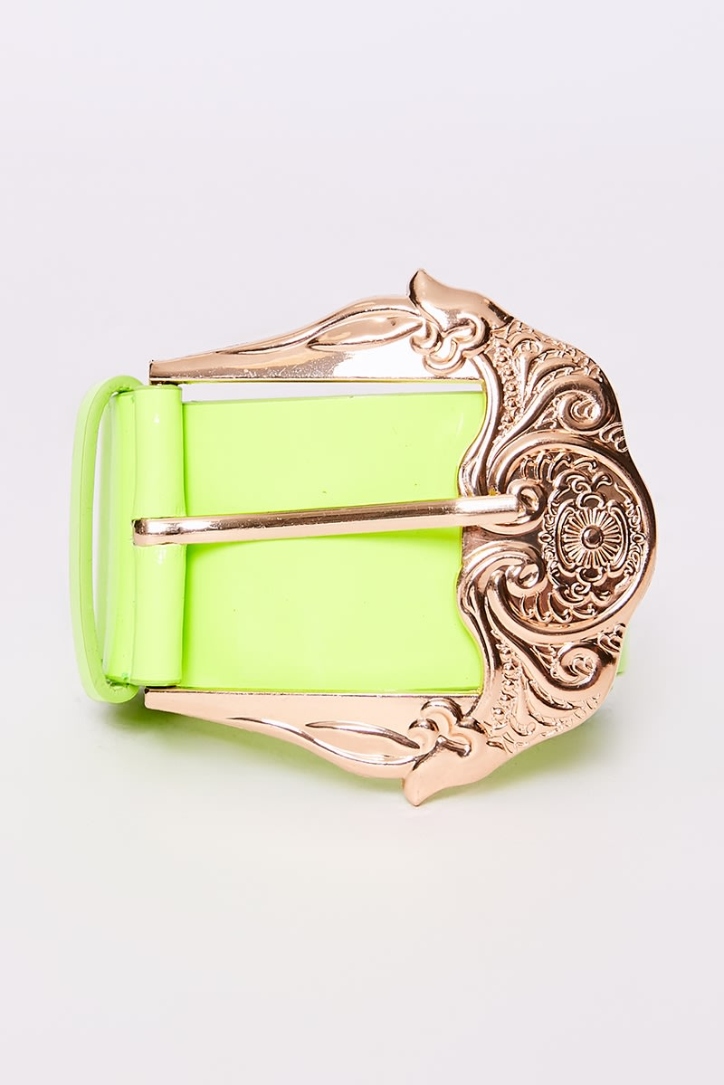 NEON LIME GOLD BUCKLE BELT