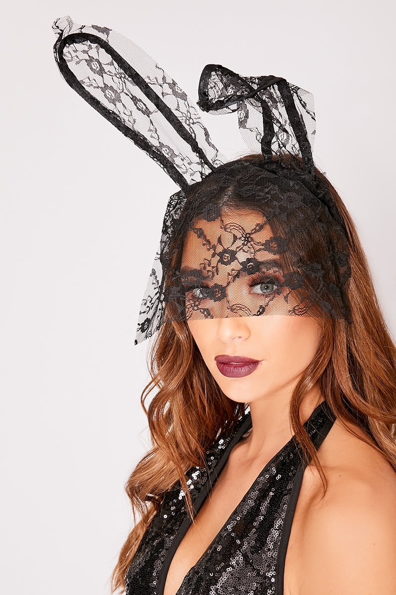 BLACK LACE VEIL BUNNY EARS